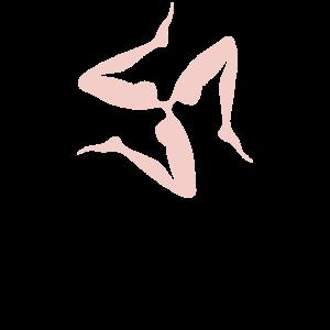 Sizilianisches Symbol mit drei Beinen im japanischen Pfirsich |