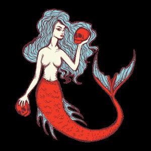 Gruselige Meerjungfrau mit Totenschädeln