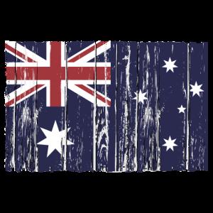 Australia  flag - wood vintage look