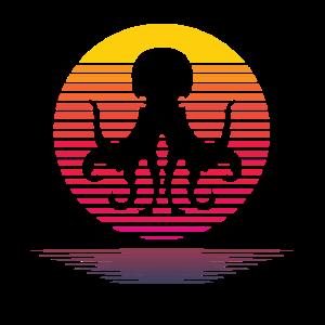 Retro Octopus Sun Silhouette