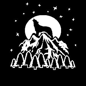 Wolf Vollmond Berge