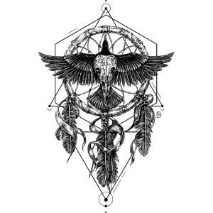 AD Skull Crow Dreamcatcher Mystic