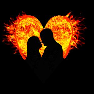 Herz Liebespaar Schmetterling Flammen