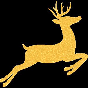 Rentier oder Hirsch Gold glitzernd zu Weihnachten