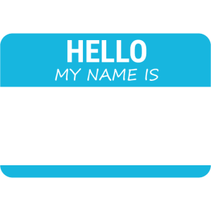 Namensschild: Hello my name is (Blau)