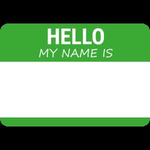 Namensschild: Hello my name is (Grün)
