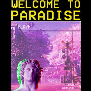 Ästhetische Dampfwelle willkommen im Paradies