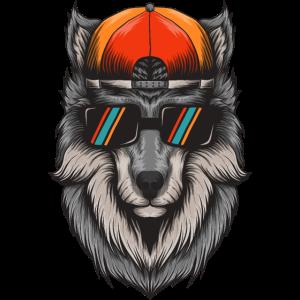 Wolf Hipster mit Hut Nerd