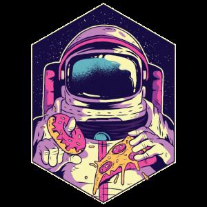 Astronaut isst Pizza und Donut Geschenk