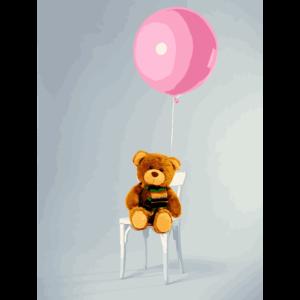 Stuhl mit Luftballons Teddybaer mit Schal