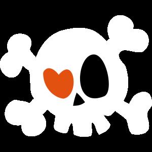 Totenkopf mit Herz