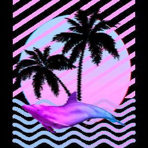 Ästhetischer Dampfwellendelphin mit Palmenentwurf