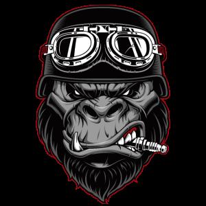 Biker Gorilla Motorrad Silberrücken Affe Geschenk