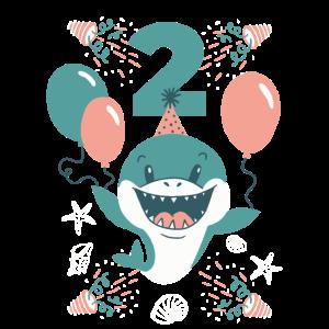2. Geburtstag mit Ballons und süßem Hai Geburtstag