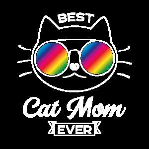 Best Cat Mom Ever Weiss Sonnenbrille Geschenk