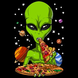 Außerirdischer, der Pizza isst