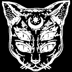 Lunatic Cat Katze mit Mondzeichen   Unisex T-Shirt