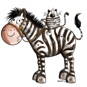Zebra mit Katze