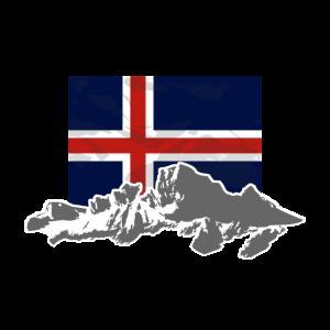 Iceland - Flag & Mountains
