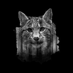 Katze Luchs - Cooles Doppelbelichtungs-Design