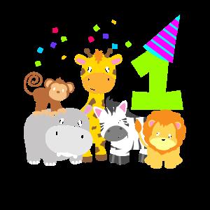 Geburtstag 1 Jahr Kinder Eins Zootiere