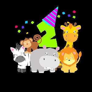 Geburtstag 2 Jahre Kinder Zwei Zootiere