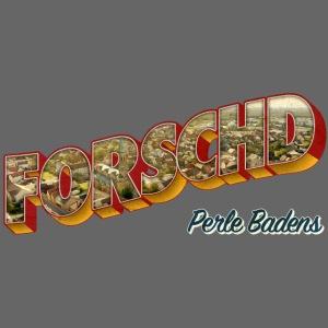 Forschd - Perle Badens - Vintage-Logo mit Luftbild