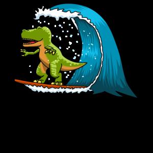 Dino Dinosaurier Surfen Surfer T-Rex Geschenk