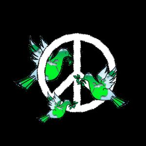 Peace Hippie Umweltschutz Friedenstauben T-Shirt