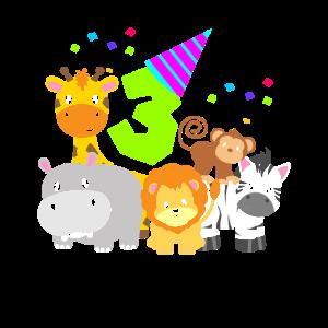 Geburtstag 3 Jahr Kinder Drei Zootiere