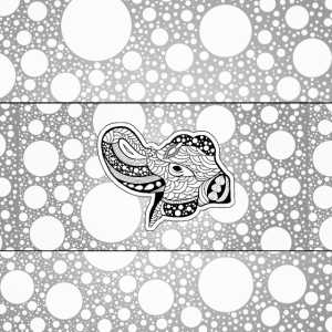 Eleganter Mandalaelefant in Schwarzweiss