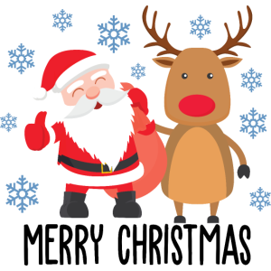 Merry Christmas Rudolph Santa Claus Design