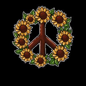 Hippie Sonnenblume Friedensschild