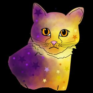 Katze violett, gelb