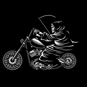 Sensenmann auf Motorrad