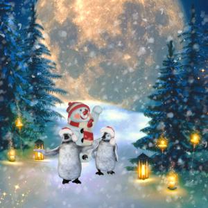 Lustiger Weihnachtspinguin mit Schneemann