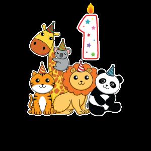 Cartoon Geburtstags Tiere 1 Geburtstag für Kids