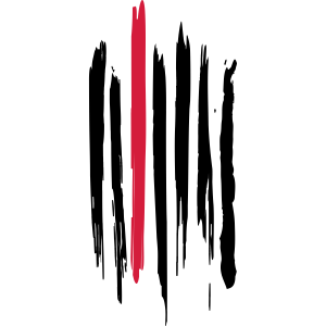 Schwarz-rote Pinselstriche