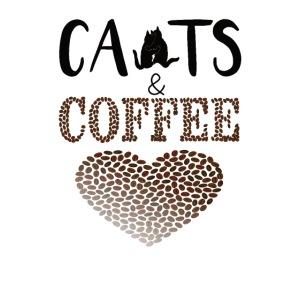 Katzen und Kaffee Schwarze Schrift