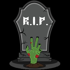 Winkende Zombie Hand winkt aus einem Grab