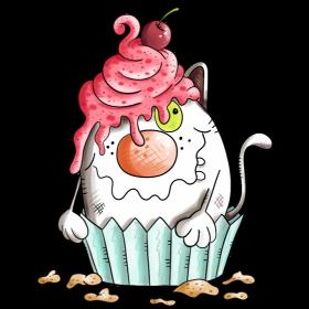 Katze liebt Muffin