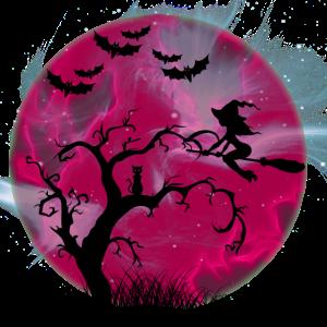 Fliegende Halloween Hexe vor Blutmond