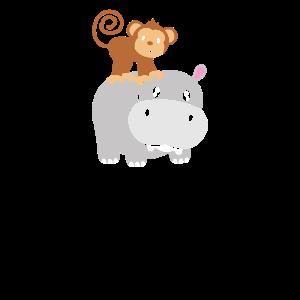 Nilpferd Affe Hippo