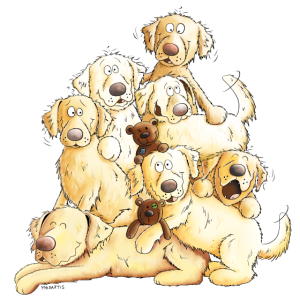 Golden Retriever Hundehaufen Comic Hunde Geschenk