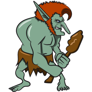 troll gefaehrlich cartoon grimmig keule maerchen w