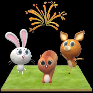 Liebliche Tiere auf der Wiese mit Feuerwerk