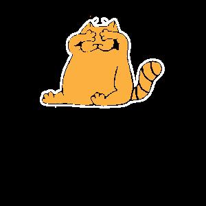 Katzen Shirt Orangene Katze Augen zu