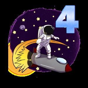 4. Geburtstag Astronaut Jungen 4 Jahre Vier
