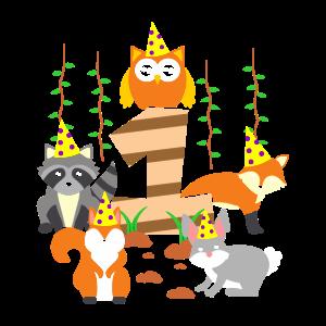 1. Geburtstag Baby Eins 1 Waldtiere