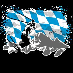 Alpine Ski - Bayern - Flagge & Berge